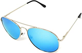 Polarized Aviator Sunglasses - Mirrored - With Microfiber Cloth, Carrying Pouch, and Durable Hard Case