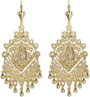 BOBIJOO JEWELRY - Coppia di orecchini Gitane Savoyardes Vergine da donna placcati oro