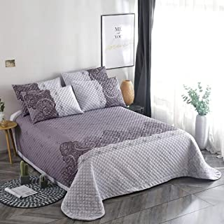 JANRON Quilted King Size Bedspread 100% Cotton American Style Reversible King Size Bedspreads and Throws for Double Bed 3-Piece Soft Bed Cover Quilt with 2Pillowcase - 250X250CM