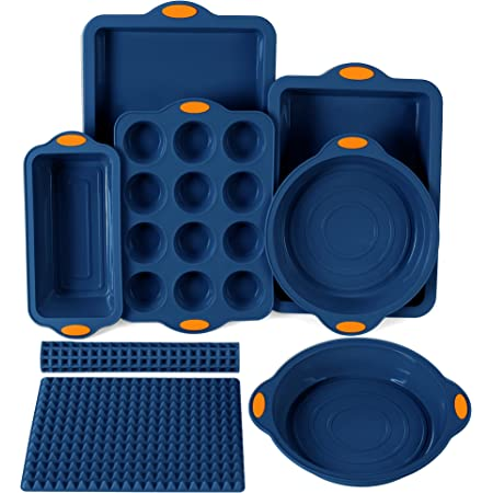 To encounter 8 in 1 Silicone Baking Set - 6 Silicone Molds - 2 Silicone Baking Mat, Nonstick Baking Cookie Sheet, Cake Muffin Bread Pan with Metal Reinforced Frame More Strength, Navy Blue