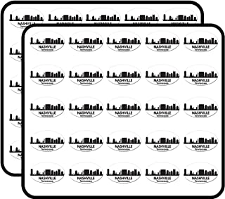 Oval B/W Skyline of Nashville (City tn Tenn) Sticker for Scrapbooking, Calendars, Arts, Kids DIY Crafts, Album, Bullet Journals