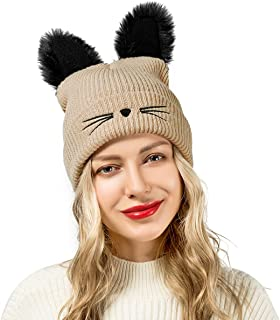 Flowomen Cute Beanie Hats Cat Ear Slouchy Warm Cap Knit with Embroidered
