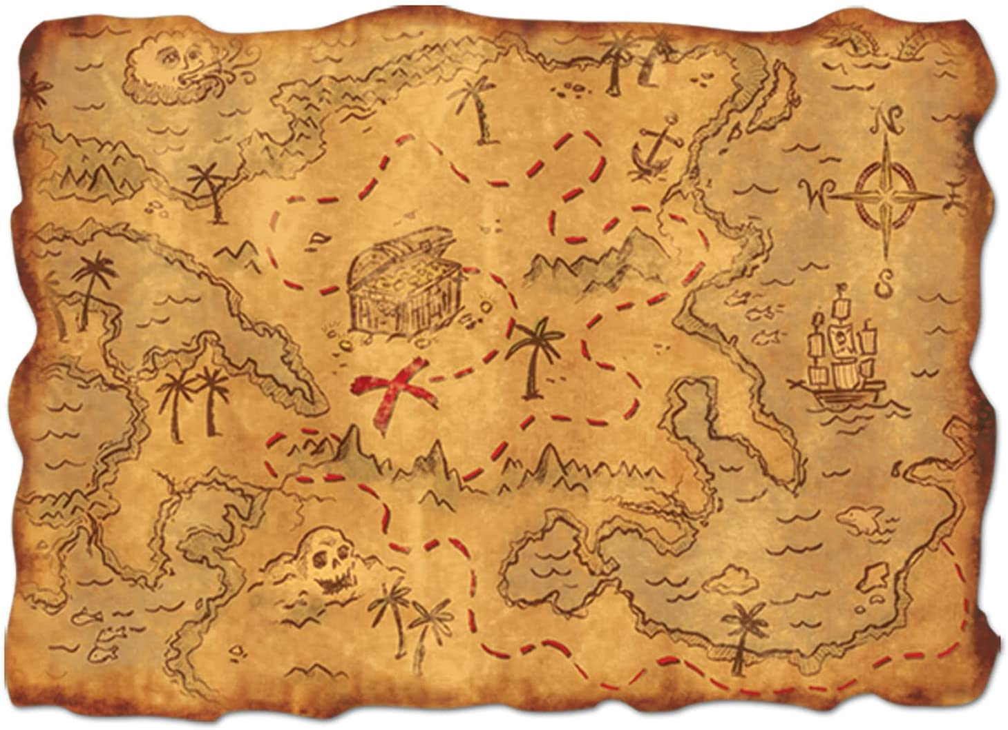 "Beistle Plastic Treasure Map, Multicolored, 12"" x 18"" : Amazon.co.uk: DIY &  Tools"
