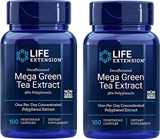 Life Extension Decaffeinated Mega Green Tea Extract 98% Polyphenol Extract Food Supplement - 100 Vegetarian...