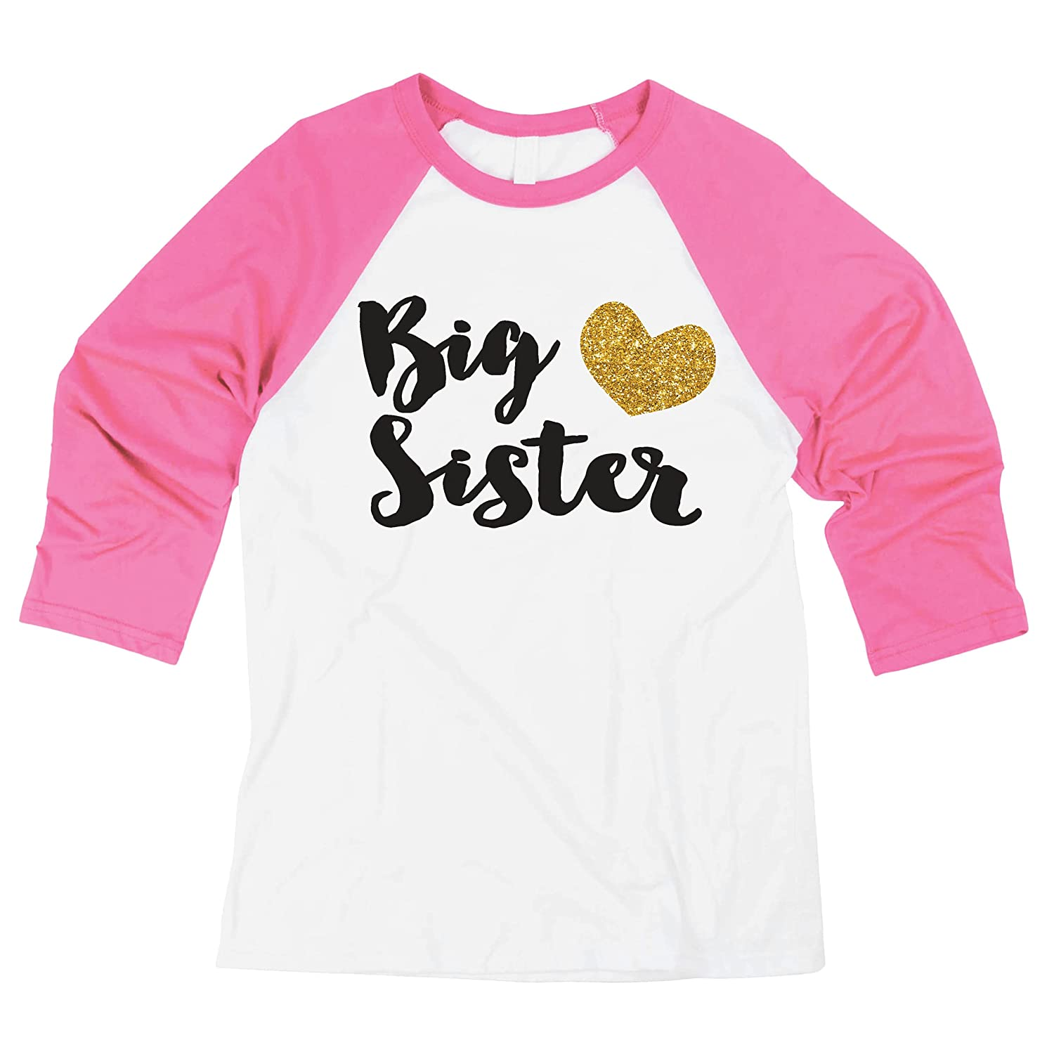 Bump and Beyond Designs Baby Girl Outfit Big Sister Shirt Baby Announcement Photo Prop (2T Pink Sleeves)