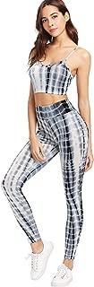 Women's Two Piece Outfits Tie Dye Crop Top Leggings Set Tracksuit