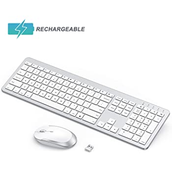 seenda Rechargeable Wireless Keyboard Mouse Combo Full Size Cordless Keyboard & Mouse Sets with Build-in Lithium Battery Ultra Thin Quiet Keyboard Mice - Silver and White