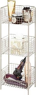 mDesign étagère salle de bain en métal – colonne salle de bain inoxydable avec trois paniers de rangement pour serviettes,...