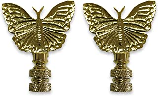 Royal Designs Monarch Butterfly Lamp Finial for Lamp Shade- Polished Brass Set of 2