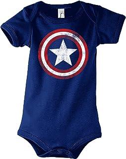 TRVPPY Baby Jungen & Mädchen Kurzarm Body Strampler Modell Vintage Captain America, Größe 3-24 Monate in vielen Farben