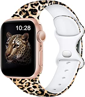 Easuny Leopard Bands Compatible for Apple Watch Bands 40mm 38mm Womens Girls - Cute Fadeless Floral Soft Pattern Printed Silicone Replacement Wristband for iWatch SE & Series 6/5/4/3/2/1,Cheetah S/M