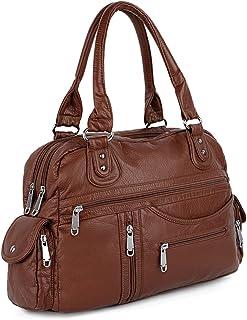 UTO Women Handbag PU Leather 3 Front Zipper Washed Shoulder Bag Brown