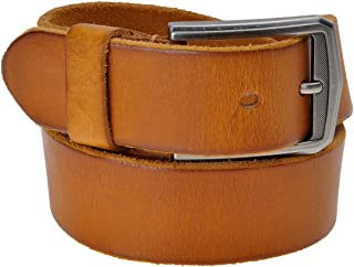 ZLYC Men's Classic Design Cowhide Grain Leather Belt 38mm Wide with Alloy Buckle