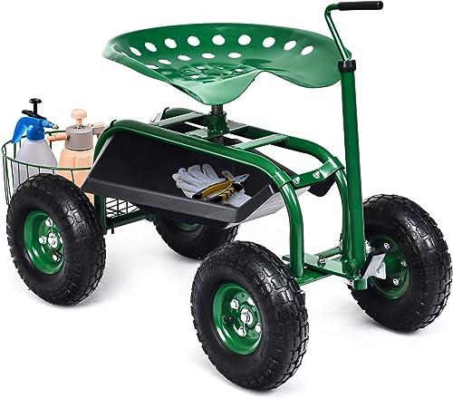 Giantex Garden Cart, 4-Wheel Gardening Workseat with Storage Basket, Swivel Seat Adjustable Height, Steering Handle, Garden Utility Cart, Steel Stool Seat for Planting (Green)