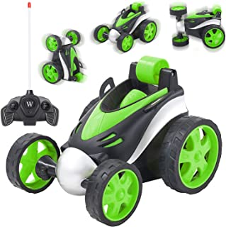 Andals 360 Degree Rolling Remote Control Car RC Four Wheel Racing Vehicle High Speed Rotating Tumbling Truck Remote Stunt Car Toys Gift for Boys & Girls (Green)