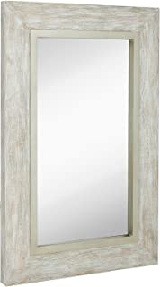 Hamilton Hills Large White Washed Framed Mirror | Beach Distressed Frame | Solid Glass Wall Mirror | Vanity, Bedroom, or Bathroom | Hangs Horizontal or Vertical | 100% (24