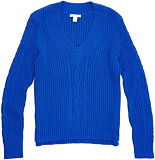 Nautica Women Cable Knit V-Neck Sweater Pullover