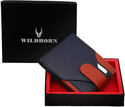 WildHorn Genuine Leather Hand-Crafted Bifold Wallet,Ultra Slim Wallet with 6 Card Slots and Detachable Card Holder,2 Currency Pockets-Blue WHW121