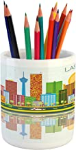 Ambesonne Las Vegas Pencil Pen Holder, Cartoonish Skyline of Nevada City in The Afternoon Modern Buildings Architecture, Printed Ceramic Pencil Pen Holder for Desk Office Accessory, Multicolor