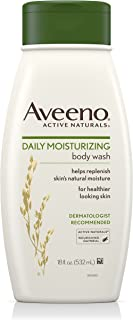 Aveeno Daily Moisturizing Body Wash with Soothing Oat, Creamy Shower Gel, Soap-Free and Dye-Free, Light Fragrance, 18 fl. oz