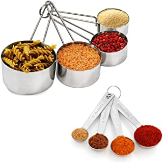 Measuring Cups and Spoon Set - Detachable Ring, Easy Pour Spout, Stackable, Heavy Duty Quality – Kitchen Measuring Set Sta...