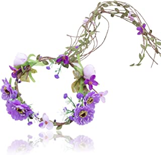 Flower Crown Headband Floral Headpiece - AWAYTR Women Girl Bohemia Adjustable Tree Rattan Leaf Flower Garland Hair Wreath Wedding photography Decoration (Purple)
