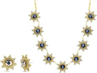 Badgley Mischka Rhinestone Sunburst Necklace and Stud Earrings for Women Yellow Two Piece Set Adjustable 17 - 19 Inches