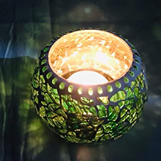 Candle Tea Light Holders with Free-2 Tea Lights from iHandikart Handicrafts,Multi Colour Beautiful Glass Material