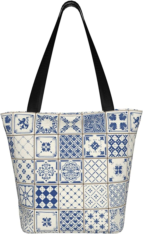 Large Tote Bag Canvas Hobo Bag Daily Work Shoulder Handbag Best Gifts for Women (Retro Ancient Oriental Blue Pattern)