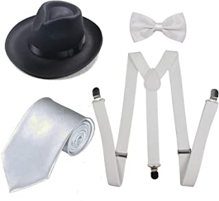 Men's Roaring 1920s Set Manhattan Fedora Hat,Y-Back Suspenders & Pre Tied Bow Tie, Gangster Tie & Fake Mustache