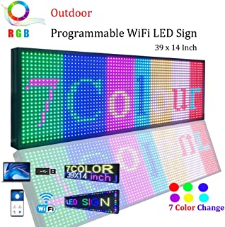 WiFi LED Sign, Programmable LED Sign P13 SMD 7 Color Scrolling led Signs 39
