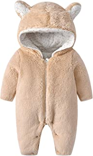 WYTbaby Bebé Mameluco Niñas Niños Trajes de Nieve Invierno Monos con Capucha Espesar Peleles Overoles Calentito Enterizo
