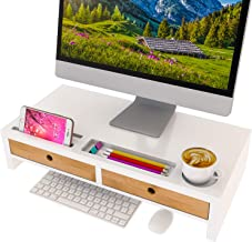 Computer Monitor Stand with Drawers - White Wood Laptop Screen Printer TV Riser 22.05L 10.60W 4.70H inch, Desk Organizer i...