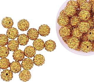 Pandahall 100 Pcs 10mm Topaz Shamballa Pave Disco Ball Clay Beads, Polymer Clay Rhinestone Beads Round Charms Jewelry Makings