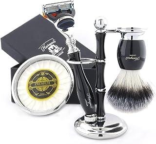 5 sztuk męski zestaw do golenia z podwójną krawędzią maszynka do golenia, syntetyczna szczotka do włosów z borsukiem, podw...