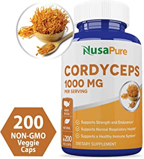 Cordyceps Extract 1000 mg 200 Veggie Capsules (Non-GMO & Gluten Free) Cordyceps Sinensis - Healthy Immune Support, Energy & Immunity Booster