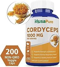 Cordyceps Extract 1000 mg 200 Veggie Capsules (Non-GMO & Gluten Free) Cordyceps Sinensis - Healthy Immune Support, Energy & Immunity Booster