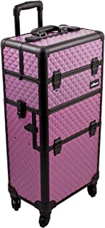 (Purple Diamond) - SUNRISE Makeup Case on Wheels I3261 2 in 1 Hair Stylist Organiser, 4 Wheel Spinner, 3 Trays and 1 Removable Tray, Locking with Mirror and Shoulder Strap, Purple Diamond