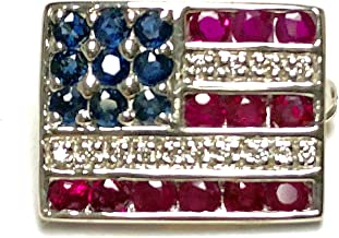 sterling silver american flag lapel pin