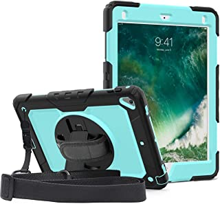 iPad 9.7 case with Pencil Holder, SIBEITU iPad Air 2 Case/ipad 6th Generation Cover with Screen Protector for Kids, Rugged Protective Child Proof Case with Stand/Hand & Shoulder Strap-SkyBlue