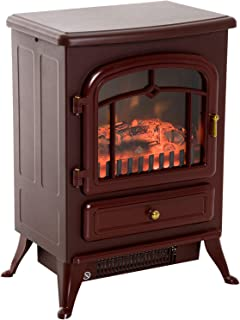 """HOMCOM Freestanding Electric Fireplace Heater with Realistic Flames, 21"""" H, 1500W, Burnt Sienna"""