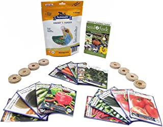 Granny's Garden Heirloom Vegetable Seed Collection, 15 Varieties, Non-GMO Heirloom Beet, Carrot, Cucumber, Basil, Kale, Lettuce, Melon, Onion, Pea, Pepper, Squash, and Tomato Seeds (w/Pellets)