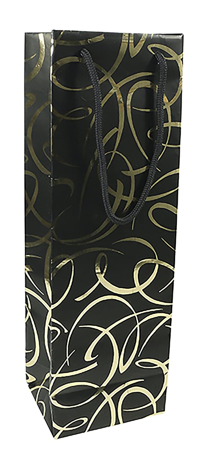 Clairefontaine 212862C 12.5 x 9.5 x 38 cm Max and Me Bottle Bag - Black/Gold