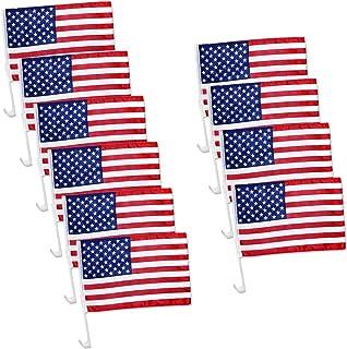 "Julysgift US American Car Flag Window Clip 17"" x 12"", Pack of 12/10 / 100"