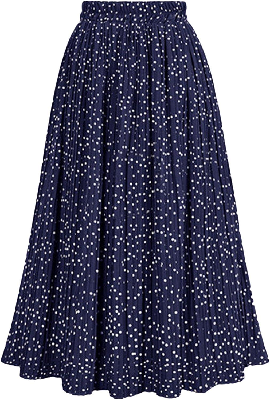 Youhan Women's Casual Elastic Waist Pleasted A-Line Dot Skirt