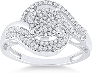 FB Jewels 925 Sterling Silver Womens Round Diamond Cluster Ring 1/2 Cttw Size 7 (Primary Stone: I2 clarity; G-H color)