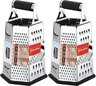 Utopia Kitchen Cheese Grater for Kitchen Stainless Steel 6-Sides - Easy to Use and Non-Slip Base [2-Pack]
