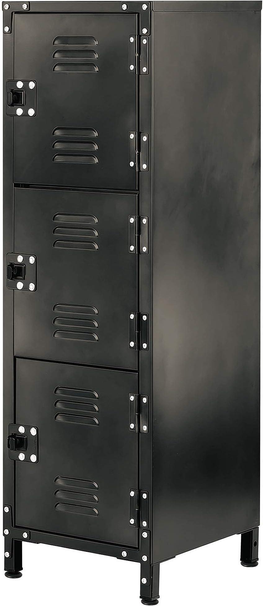 Allspace 3 Door Steel Storage Wardrobe Locker With Dark Weathered Finish, Vintage, Industrial, for Clothing,Home, Office, School, Dorm, Teen, Shop, Vented, Lockable, Durable Powdercoat - 450112E