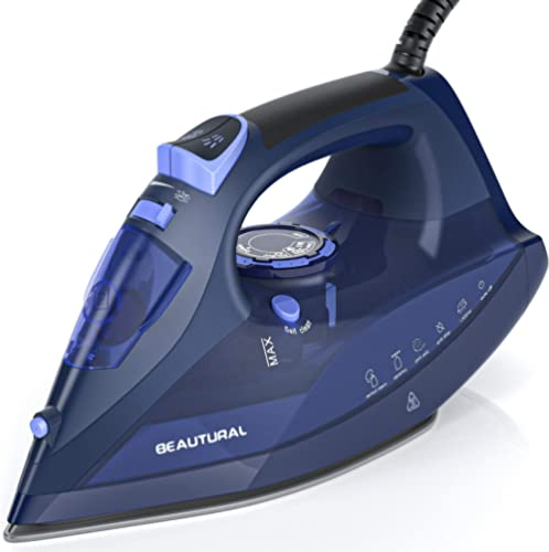 BEAUTURAL Steam Iron for Clothes with Precision Thermostat Dial, Ceramic Coated Soleplate, 3-Way Auto-Off, Self-Clean...