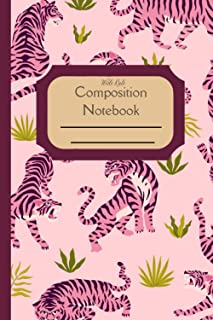 Composition Notebook Wide Rule: Japanese Retro Tiger Cover Standard wide ruled composition notebook journal for all writin...